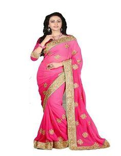 Pink Chiffon Party Wear Designer Saree Sarees on Shimply.com