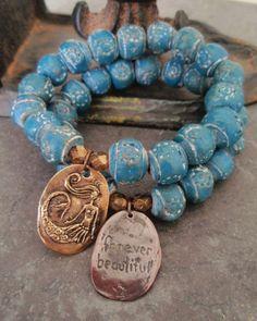 Mermaid stretch bracelet- Forever Beautiful - rustic denim blue handmade beads , Shibuichi nautical boho chic beach bohemian via Etsy