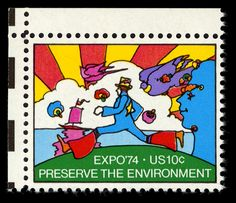 Peter Max art: Expo74 Stamp