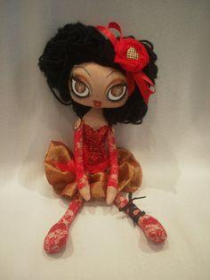 Merla Red Sequin Art Cloth Rag Doll by lesleyjanedolls on Etsy