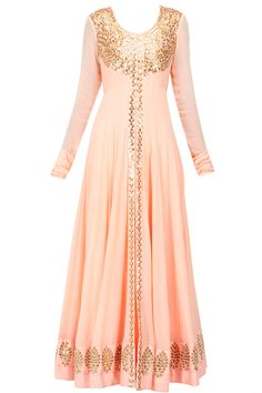 Prathyusha Garimella presents Peach gota patti jacket with inner gown available only at Pernia's Pop-Up Shop. Indian Attire, Indian Wear, Pakistani Outfits, Indian Outfits, Desi Clothes, Anarkali Dress, Glamour, Indian Couture, Indian Designer Wear