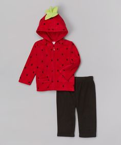 Red Dot Strawberry Zip-Up Hoodie & Black Pants - Infant