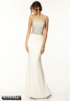 Prom Dresses / Gowns Style 97069: Geometric Beaded Net on Jersey http://www.morilee.com/prom/paparazzi/97069