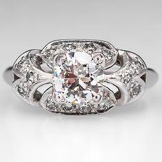 Antique 1930's Engagement Ring Old Euro Diamond Platinum