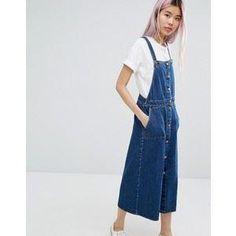 Annons på Tradera: Lång jeansklänning/hängselklänning från Monki strl S (retro,rockabilly,klänning)