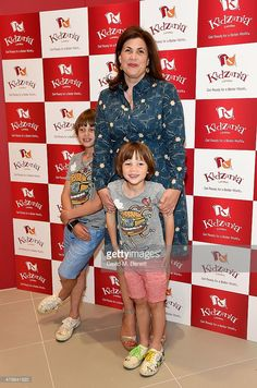 Kirstie Allsopp and sons Bay Atlas Andersen and Oscar Hercules Andersen attend a tea party to celebrate the launch of KidZania London at Westfield London on June 2015 in London, England. Kirstie Allsopp Dresses, Worlds Of Fun, Betta, Christmas Sweaters, Sons, Clothes, Age, Interiors, Kleding