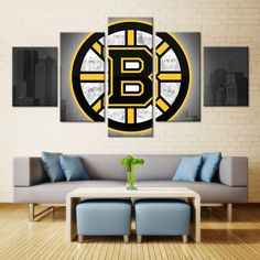 073d349cbd9 Boston Bruins NHL Hockey 5 Panel Canvas Wall Art Home Decor Wall Art  Prints