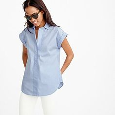 Short-sleeve popover shirt in oxford blue : Women tops & blouses | J.Crew