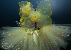 Fairy Daffodil Newborn tutu set with wings and Matching headband