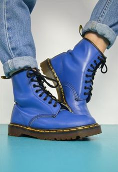 90s Dr Martens Blue 8 Eyelet Leather, Made in England