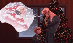 hetalia christmas | Tumblr -poor Sweden and Sealand. They probably are worried sick for him, not to mention that they can't spend Christmas together because he's out delivering.