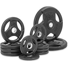 XMark Premium Quality Rubber Coated Tri-grip Olympic Plate Weights - Sold in Sets