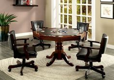 CM-GM339 5 pc rowan collection cherry finish wood man cave poker, gaming, dining table set with swivel chairs Game Table And Chairs, Table Games, Dining Table, Game Tables, Dining Area, Dining Chairs, Convertible, Octagon Table, Table Top Design