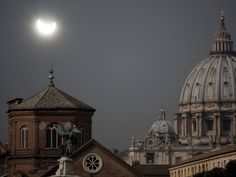 Vatican City in Rome, Italy, in view of the eclipse.
