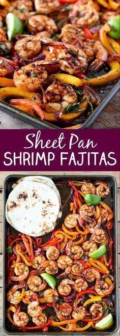One Sheet Pan Shrimp Fajitas. An easy way to make shrimp fajitas and very little clean up! Use whole wheat or corn tortillas to keep this healthy sheet pan recipe clean eating friendly! Pin now to make this next time you want healthy seafood.