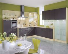 Kitchen, Best Modern Kitchen Layouts 2014: Best Kitchen Layouts  Design Ideas With White Dinning Table And Lime Green Chairs