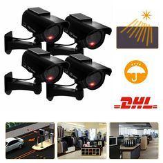 4X Solar Power Dummy Überwachungskamera LED Fake CCTV Kamera Attrappe Camera