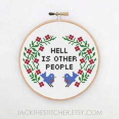 PDF ONLY Hell is Other People Modern Subversive Cross Stitch