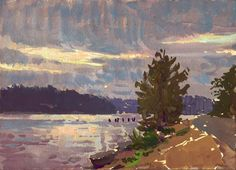 Ollala View Puget Sound 4x6 gouache on watercolor block painted by Mike Hernandez