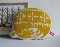 Hand Screen Printed Sleepy Dog in Yellow by robinandmould on Etsy, $25.00