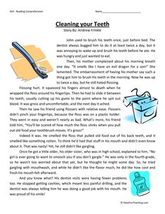 Cleaning Your Teeth Fourth Grade Reading Comprehension Test 2nd Grade Reading Comprehension, 5th Grade Reading, Reading Fluency, Reading Passages, Have Fun Teaching, Teaching Reading, Reading Lessons, Reading Skills, English Stories For Kids