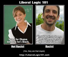 """liberal-logic-101; this is how twisted and sick the mental """"logic"""" of the liberal mind really is...I did NOT vote for Obama in '08 because he was NOT competent...and I am NOT voting for him in 2012 because he has PROVED HIMSELF TO BE AN ENEMY OF AMERICA...I don't know how ANYONE with HALF a brain can't see this!!! really."""