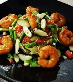 Take shrimp with paleo vegetable paleo lunch- Garnalen met knapperige groente paleo lunch meenemen Take shrimp with paleo vegetable paleo lunch - I Love Food, Good Food, Yummy Food, Law Carb, Food Porn, Healthy Recepies, Happy Foods, Asian Recipes, Fish Recipes