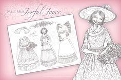Meet Miss Joyful Joyce! - Coloring Paper Doll #free #printable #paperdoll #coloringpage