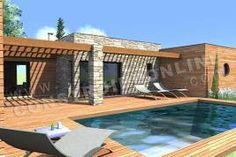 plan maison en toit plat piscine COSMOS 2