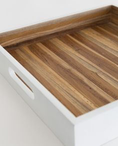 wooden tray, white+wood