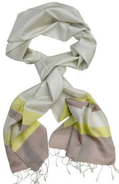 Scarf, made from fine silk. Colours: metallic off white, lime and light brown. Cotton Scarf, Silk Scarves, Scarf Styles, Cambodia, Hand Weaving, Stylish, Handmade, Fashion, Moda