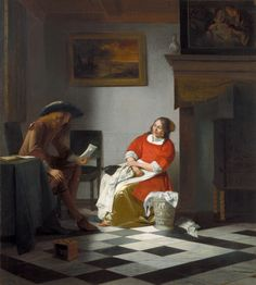 Pieter de Hooch (1617 - c.16831684) Homme lisant une lettre à une femme