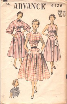 Advance 6126 1950s Misses Sexy Dress Pattern Halter  Balloon or Cap Sleeves Full Skirt womens vintage sewing pattern by mbchills