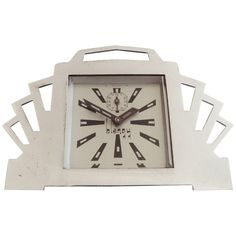 French Ultra Art Deco Styled Chrome and Black Mechanical Alarm Clock by Blangy | From a unique collection of antique and modern clocks at https://www.1stdibs.com/furniture/decorative-objects/clocks/