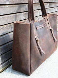Vintage look waxed leather bag in brown by treesizeverse on Etsy, $248.00