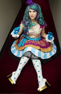 Amazon.com : 55cm Ever After High Madeline Hatte Long Teal&purple Curly Wave Lolita Costumes Full Wigs Zy77 : Beauty