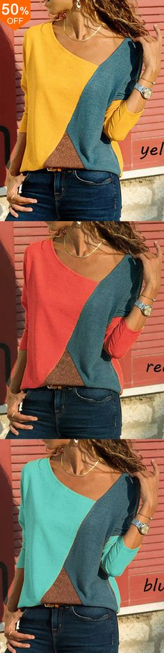 off&Free Casual Women Color Patchwork Asymmetrical Collar Long Sleeve Blouse - Red Casual T Shirts, Casual Outfits, Diy Fashion, Ideias Fashion, Blouses For Women, T Shirts For Women, Tee Dress, Mode Outfits, Couture