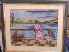 Mamma e figlia,quadro ricamato a mano