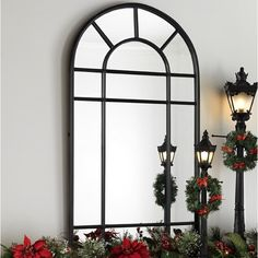 Large Metal Arched Window Mirror