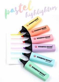 The premium Stabilo highlighter features a new color range that we love and believe that you will too! Enjoy up to 4 hours cup off time with the original Stabilo Anti-Dry Out Technology. The wedge tip draws broad lines, highlights and underlines. Too Cool For School, School Fun, Interior Paint Colors For Living Room, Cute Stationary, Stabilo Boss, 6 Pack, Back To School Supplies, Bullet Journal Inspo, Copics