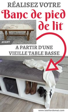 Comment réaliser un banc de pied de lit à partir d'une table basse Furniture, Shabby Chic, Room, Home, Storage Bench, Deco, Home Diy, Deco Furniture, Inspiration