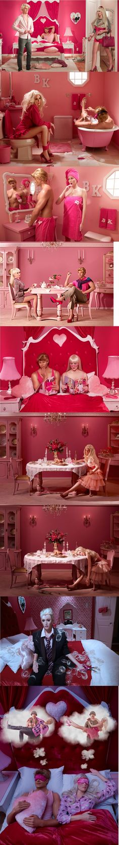 Barbie and Ken in real life... Who ever came up with this photoshoot was genius! Hilarious!