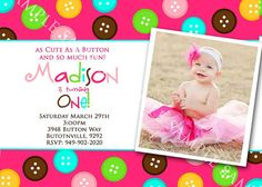 CUTE as a BUTTON Birthday Invitation with by littlebirdieprints, $15.00