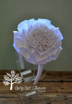 White Pleated Ribbon Flower Headband-looks like it could be a box-pleat