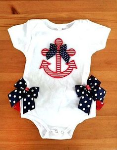 Fourth of July Anchor onesie by ChasenLondon on Etsy Toddler Fashion, Kids Fashion, Baby Time, My Baby Girl, Baby Sewing, Future Baby, Baby Dress, Baby Gifts, Cute Babies