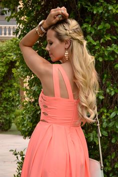 Cutout Coral Dress and Braided Hair