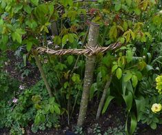 How to make sturdy willow and witch hazel plant supports like the ones at Coton Manor Garden in Northamptonshire