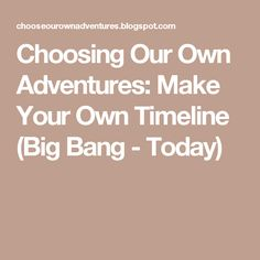 Choosing Our Own Adventures: Make Your Own Timeline (Big Bang - Today)