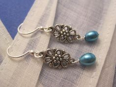 Teal Blue Pearl Bead Antique Silver Charm by Sparkleandswirl