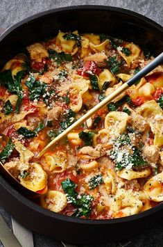 Fresh ingredients team up with store-bought shortcuts to get this comforting dinner on the table in just over 30 minutes. Frozen cheese tortellini only need a 5-minute dip in the simmering broth to cook up perfectly. Don't be tempted to just dump the whole can of tomatoes into the pot; draining them first concentrates the flavor. #souprecipes #soupinspiration #soup #stew #chili #soupideas Best Soup Recipes, Kale Recipes, Great Recipes, Chicken Tortellini Soup, Cheese Tortellini, Chicken Stuffed Peppers, Gravy, Stew, Tomatoes